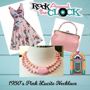 Vintage 50s Rockabilly Pink Beaded Lucite Necklace